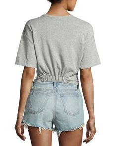 TUY2V T by Alexander Wang Heathered Jersey Twist-Front Tee, Gray