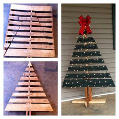 DIY Christmas tree using old wooden palate. Outdoor christmas tree. Love it!