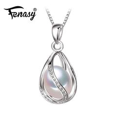 Natural Pearl Caged in Silver Pendant