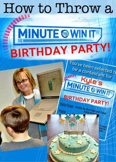 Fantastic ideas for hosting a Minute to Win It birthday party at home! This post includes ideas for Minute to Win It games for kids with links to the Birthday Party At Home, Birthday Party Games, Birthday Ideas, Birthday Crafts, 10th Birthday, Husband Birthday, Birthday Recipes, Party Crafts, Birthday Fun