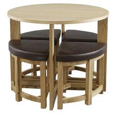Table + 4 stools HAGESTED oak coloured | JYSK