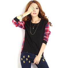 New Arrival Fashion Women Ladies Plaid Checked Long Sleeve Casual Loose Leisure Patchwork Shirts Tops Blouse Plus Size