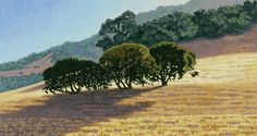 """Trio by Daniel Cooper Acrylic ~ 16"""" x 30""""   Marin County, #California   Summer sun highlights a small group of oaks standing on a golden knoll. The silhouetted trees cast long  shadows across the bright warm hillside, set off by a cool distant ridgeline and luminous blue sky."""