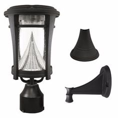 """Gama Sonic Aurora Solar Light with Wall/Post/3"""" Fitter Mount"""