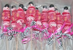 black and pink zebra candy kabob party favors by Simply Sweets, via Flickr