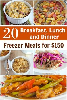 20 Freezer Friendly Breakfast, Lunch & Dinner Meal Plan for $150 - can use ANY grocery store to do this plan! | 5DollarDinners.com