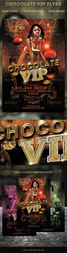 Chocolate VIP Party Flyer  #GraphicRiver        Layered PSD File 300 DPI CMYK Color Bleeds Included Ready to Print Used Fonts:  .dafont /bignoodle-titling.font fontfabric /intro-free-font/  .dafont /caviar-dreams.font Model Photo is NOT included in Main File Used Photo: photodune /item/sexy-african-american/2632095     Created: 24October13 GraphicsFilesIncluded: PhotoshopPSD Layered: Yes MinimumAdobeCSVersion: CS5 PrintDimensions: 4x6 Tags: celebrate #chocolate #club #dj #event #flyer…