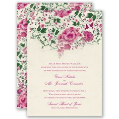 Sweet pink, floral blooms on this wedding invitation create a beautiful border that leads your guest's eyes to the details of your wedding day.  #WeddingInvitations #DavidsBridal http://www.invitationsbydavidsbridal.com/Wedding-Invitations/View-All-Wedding-Invitations/2947-DB9841AA1F-Blooming-Beauty--Begonia--Invitation.pro?&sSource=Pinterest&kw=SoPinkinCute_DB9841AA1F