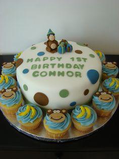 Monkey 1st Birthday Cake and Cupcakes