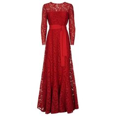 Escada Gwinova Lace Gown featuring polyvore, women's fashion, clothing, dresses, gowns, red evening dresses, floral maxi skirt, long-sleeve lace dress, floral gown and red lace gown