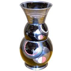 Art Deco Czech Black Modernist Czech Glass Vase by HEM | From a unique collection of antique and modern vases and vessels at https://www.1stdibs.com/furniture/decorative-objects/vases-vessels/