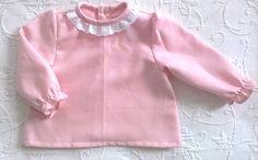 Camisa de bebé algodão cor de rosa com gola de folhos em bordado Inglês - Pink cotton baby shirt with frilled collar in cotton eyelet  https://www.instagram.com/bcottonyforchildren/