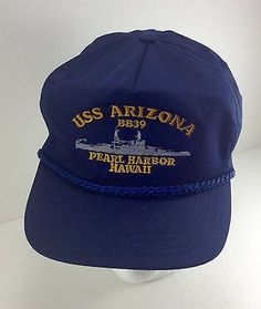 Vintage USS ARIZONA Pearl Harbor BB-39 Hat Cap One Size Made in USA