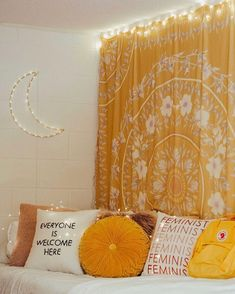 Here are the Yellow Bedroom Decoration And Design Ideas. This post about Yellow Bedroom Decoration And Design Ideas was posted under the Bedroom category by our team at September 2019 at am. Hope you enjoy it and don't . Yellow Bedroom Paint, Yellow Room Decor, Diy Room Decor, Yellow Rooms, Yellow Bedroom Decorations, Floral Bedroom, Cute Bedroom Decor, Yellow Bedding, Yellow Pillows