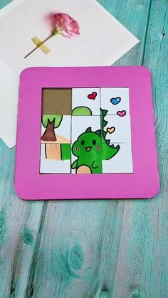 How to make a puzzle game from card board! - Make a puzzle game from card board. Quick and easy DIY craft project.They only take about 10 minutes - Paper Crafts Origami, Diy Crafts For Gifts, Paper Crafts For Kids, Craft Activities For Kids, Easy Diy Crafts, Diy Arts And Crafts, Creative Crafts, Preschool Crafts, Diy For Kids