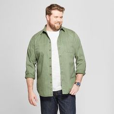 Men's Tall Standard Fit Long Sleeve Denim Button-Down Shirt - Goodfellow & Co Orchid Leaf XLT, Size: Small, Green Mens Big And Tall, Big Men, Big & Tall, Work Casual, Men Casual, Orchid Leaves, Business Casual Men, Denim Button Down, Mens Clothing Styles