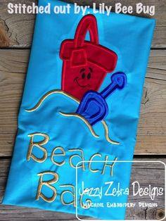 Happy Pail and Shovel Applique Design: Jazzy Zebra Designs