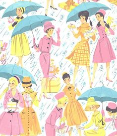 Vintage Gift Wrap Ladies Shower | Illustrator: Unknown