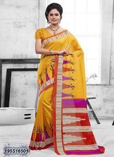 Engrossing Red Coloured Bhagalpuri silk casual Saree