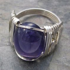 Amethyst Cabochon Sterling Silver Wire Wrapped Ring