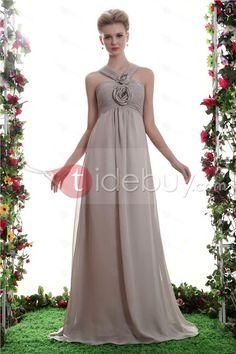 Charming Flowers Pleats A-Line V-Neck Floor-Length Yana's Bridesmaid Dress