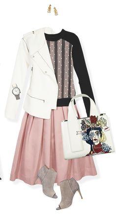 Imprímele un toque rockero a tu outfit, combinando una falda full con un suéter gráfico y una chamarra blanca estilo biker. Agrega una bolsa estructurada y botines peep-toe de tacón alto.
