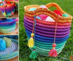 Easy Crochet Rainbow Basket Free Pattern