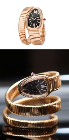 Bvlgari Serpenti Tubogas 35mm 18K Rose Gold Diamonds Watch