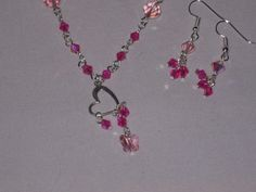 pink pearl beads with crystals, heart and crystal butterfly necklace earring set #Handmade