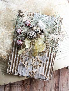 Скрапбукинг, рукоделие, Новогодняя крафт-открытка.