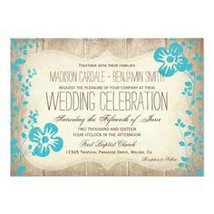 Rustic Wood Aqua Beach Flowers Wedding Invites