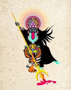 Navratri Puja will help you overcome all your negativities. Flourish with wealth on this Navratri by offering Homam to Lakshmi, Saraswathi & Durga. Navratri Puja, Happy Navratri, Kali Goddess, Goddess Art, Navratri Images, Indian Illustration, Durga Images, Shiva Shakti, Durga Maa