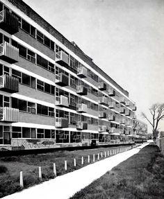 Colonia Sobre la Calzada de Tlalpan, México DF, 1957    Arqs. Jorge Cuevas y Fernando Hernández    Housing Development at the Calzada Tlalpan, Mexico City, 1957