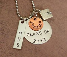 Graduation Necklace Hand Stamped Stainess Steel by immabestampin, $28.00