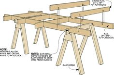 Knock-Down Sawhorse Cutting Grid