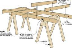 Knock-Down Sawhorse Cutting Grid