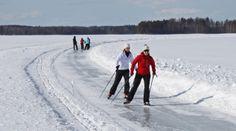 Ice skating, Punkaharju, the Saimaa lake district. Finland