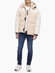 Fur Puffer Coat, Puffer Jackets, Winter Jackets, Teen Boy Fashion, Camel Coat, Recycled Fabric, Calvin Klein Jeans, Man Shop, How To Wear