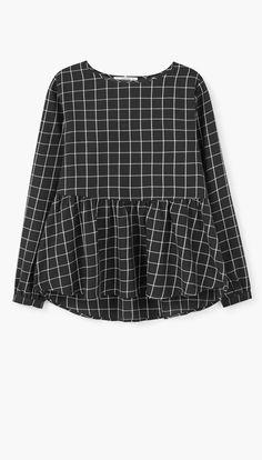 Check pattern peplum blouse