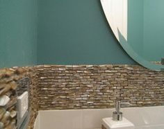 A close up! Mother of pearl with subway tile. Love!