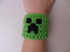 Minecraft Creeper Cuff Wrist Band  Made to Order by LilacsLovables, $10.00