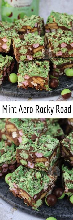 Quick, Easy, and Delicious Mint Aero Rocky Road. Chocolate Traybake Filling with Biscuits , Mini Marshmallows and Oodles of Mint Aero Goodness! I utterly adore. Easy Desserts, Delicious Desserts, Dessert Recipes, Xmas Recipes, Healthy Desserts, Dessert Ideas, Healthy Recipes, Tray Bake Recipes, Baking Recipes