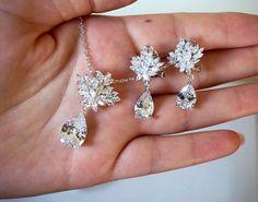 Bruids juwelen ingesteld, bruidsmeisjes sieraden instelt, stelt u Cubic Zirconia bruiloft ketting bruids juwelen bruiloft sieraden bruids toebehoren oorbellen