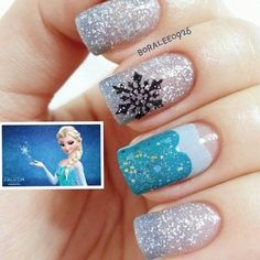 If you're not interested in a sexy Frozen Halloween costume, maybe these nail art options will be more up your alley. I gathered 20 absolutely amazing nail art ideas based on Frozen. From icicles and snowflakes to ful. Frozen Nail Art, Frozen Nails, Love Nails, Pink Nails, Pretty Nails, Disney Inspired Nails, Nail Art For Kids, Snowflake Nails, Snowflakes