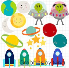 INSTANT DOWNLOAD  Space Spaceship Stars Planets Sun Moon Rockets Clipart  for Personal and Commercial Use