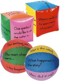 Guided Reading Beach Balls and Comprehension Cubes  Can be adapted for music listening lessons-- Will have to make my own!