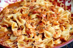 Shrimp and Bowties in Fresh Tomato Basil Cream Sauce - Fresh shrimp in a tomato basil cream sauce, made from fresh tomatoes and garden herbs, and tossed with bowtie pasta.