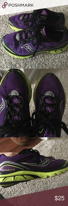 Saucony sneakers Purple and neon saucony sneakers. Worn and in good condition Saucony Shoes Sneakers