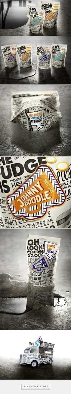 """Johnny Doodle! via The Dieline - Branding & Packaging by BrandNew, Amsterdam, Netherlands curated by Packaging Diva PD. Fresh and youthful attitude that communicates a bold-tasting, delicious product. Qquirky, funny personality that instantly intrigues buyers. The handwritten fonts are well-suited for a brand that aims to provide """"honest"""" food. // Repinned by Lunik2 www.lunik2.com"""