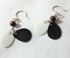 Earrings Deep Plumb and White Shell Small Dangle by CindyDidIt, $8.50